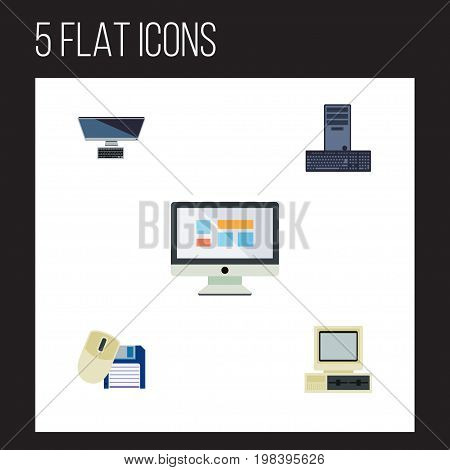Flat Icon Computer Set Of PC, Computer, Computer Mouse And Other Vector Objects