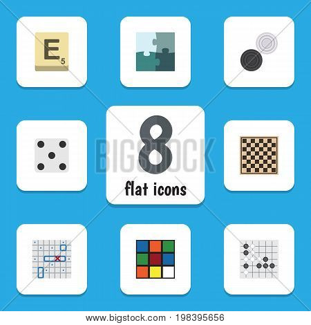 Flat Icon Entertainment Set Of Chequer, Mahjong, Cube And Other Vector Objects