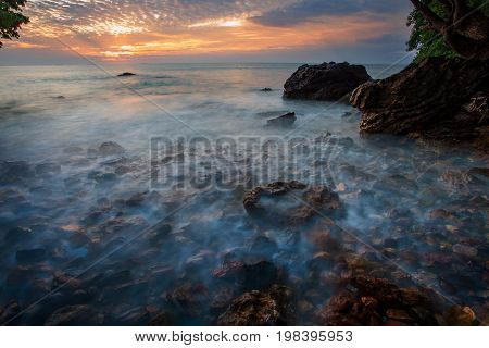 beautiful sea scape and sun rising sky background