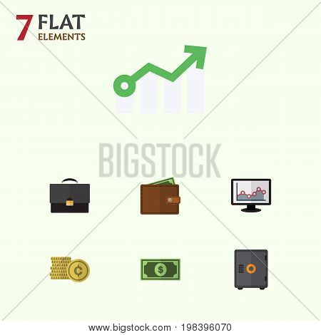 Flat Icon Incoming Set Of Portfolio, Greenback, Billfold And Other Vector Objects