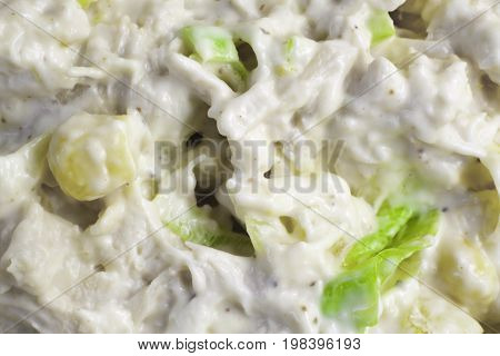 Close-up of chicken sweetcorn  mayo sandwich filling