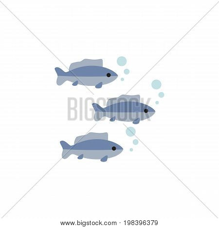 Tuna Vector Element Can Be Used For Tuna, Fish, Seafood Design Concept.  Isolated Fish Flat Icon.