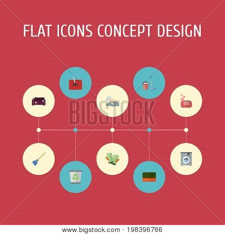 Flat Icons Gauntlet, Laundromat, Foam And Other Vector Elements