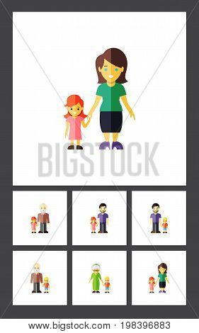 Flat Icon People Set Of Grandson, Mother, Grandma Vector Objects