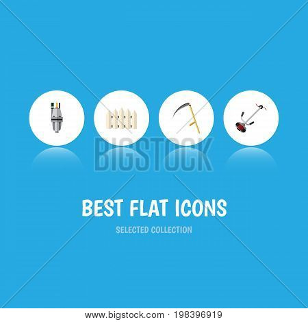 Flat Icon Dacha Set Of Grass-Cutter, Pump, Wooden Barrier And Other Vector Objects