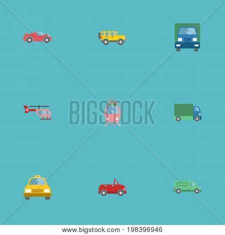 Flat Icons Lorry, Transport, Jeep And Other Vector Elements