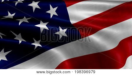 United states of America flag fluttering in strong wind.