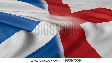 Scottish and English flag composite blowing in breeze