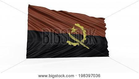 3D computer generated image of Angolan flag fluttering on breeze.
