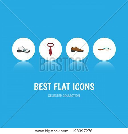 Flat Icon Garment Set Of Male Footware, Cravat, Sneakers And Other Vector Objects