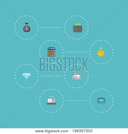 Flat Icons Accounting, Finance Sack, Jewel Gem And Other Vector Elements