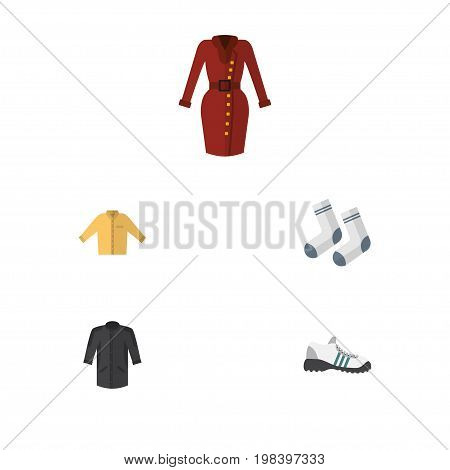 Flat Icon Garment Set Of Clothes, Foot Textile, Banyan And Other Vector Objects