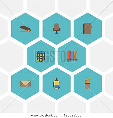 Flat Icons Identification, Armchair, Pen Holder And Other Vector Elements