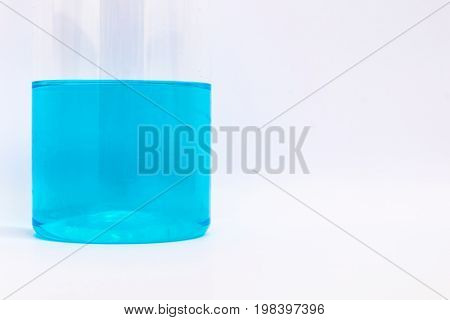 blue alcohol for medical in the plastic bottle on white background