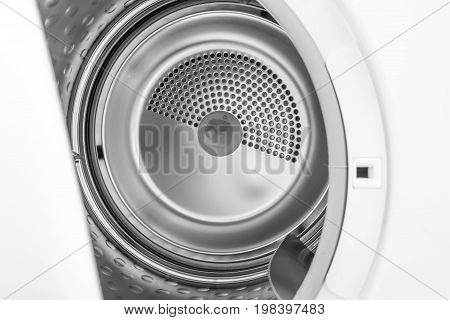 closeup detail of metal inside clothes dryers