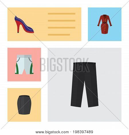 Flat Icon Clothes Set Of Heeled Shoe, Clothes, Trunks Cloth And Other Vector Objects