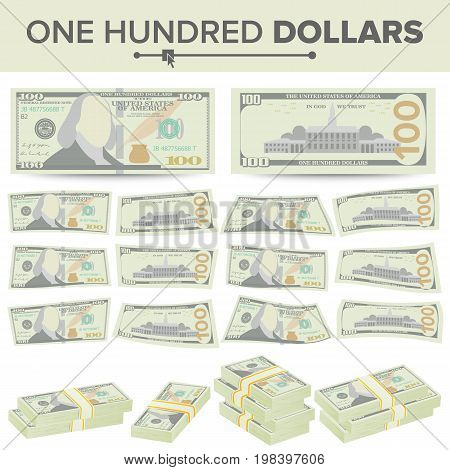 100 Dollars Banknote Vector. Cartoon US Currency. Two Sides Of One Hundred American Money Bill Isolated Illustration