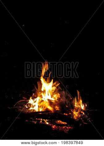 Isolated bonfire at night on a black background. Logs burn in a small bright orange-yellow flame tongue