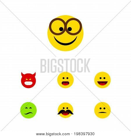 Flat Icon Emoji Set Of Laugh, Displeased, Cheerful And Other Vector Objects
