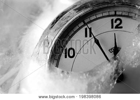 Time for refreshing, old clock in the ice