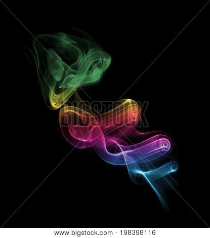 Colorful Rainbow Smoke abstract art air in black background