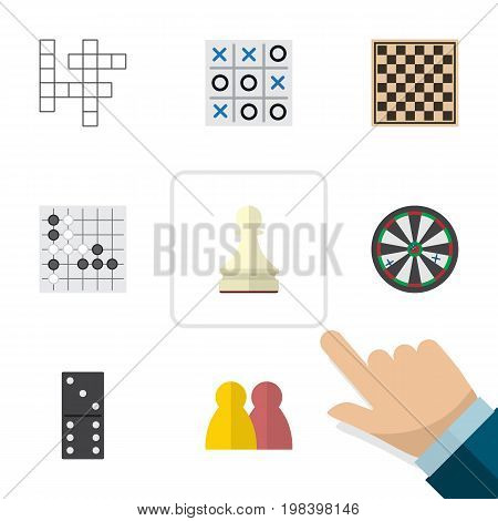 Flat Icon Play Set Of Guess, Arrow, Pawn And Other Vector Objects