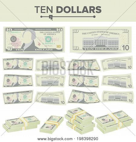 10 Dollars Banknote Vector. Cartoon US Currency. Two Sides Of Ten American Money Bill Isolated Illustration.