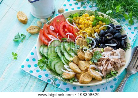 Summer Salad With Vinaigrette Salad Dressing. Salad With Tuna, Fresh Vegetables, Pistachios And Gree