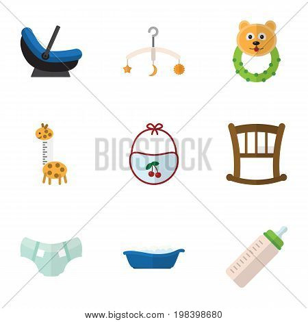 Flat Icon Child Set Of Feeder, Infant Cot, Rattle And Other Vector Objects