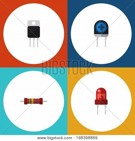 Flat Icon Technology Set Of Recipient, Receiver, Resistance And Other Vector Objects