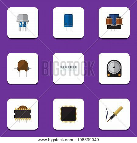 Flat Icon Electronics Set Of Cpu, Repair, Transistor And Other Vector Objects