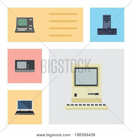 Flat Icon Computer Set Of Vintage Hardware, Processor, Computing And Other Vector Objects