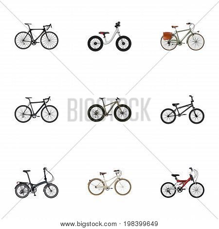 Realistic Folding Sport-Cycle, Old, Adolescent And Other Vector Elements