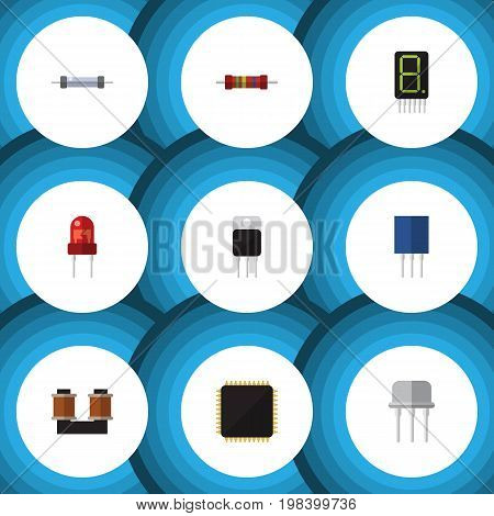 Flat Icon Electronics Set Of Coil Copper, Cpu, Receiver And Other Vector Objects