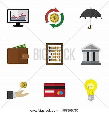 Flat Icon Finance Set Of Hand With Coin, Bubl, Billfold Vector Objects