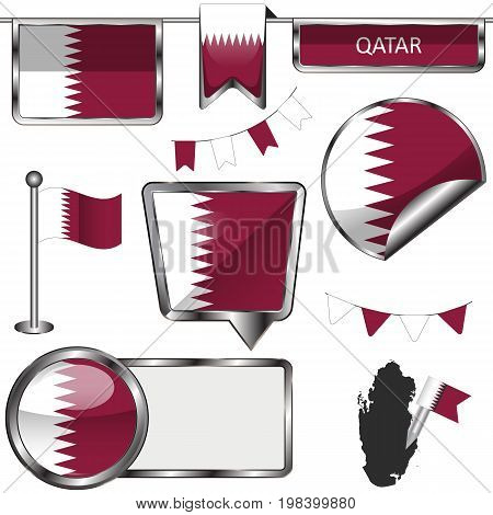 Glossy Icons With Flag Of Qatar