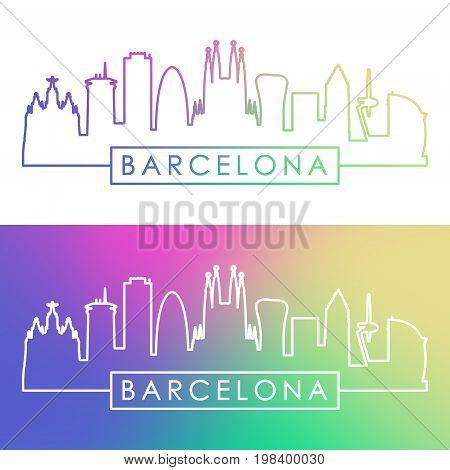 Barcelona skyline. Colorful linear style. Editable vector file.