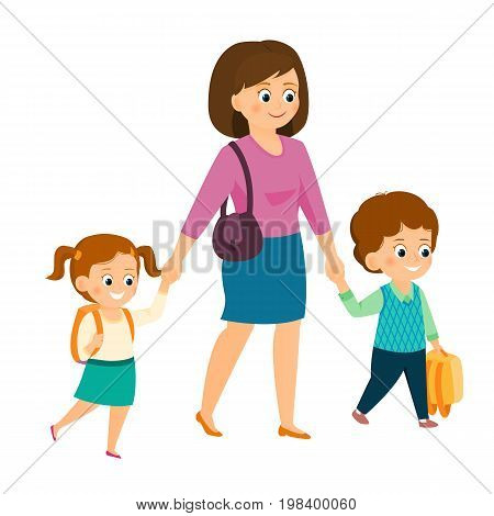 Mom holds her children hand.Pupils go to school with mom.Isolated on white background. Cartoon style. Vector illustration