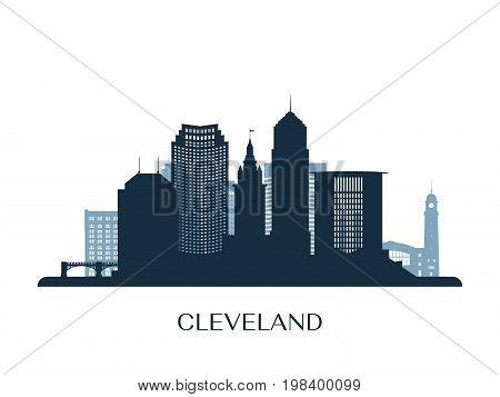 Cleveland skyline, blue monochrome silhouette. Vector illustration.