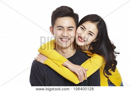 portrait of young and beautiful asian couple isolated on white background.
