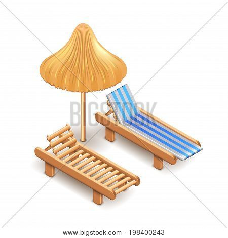 Beach umbrella and deck chair isolated on white photo-realistic vector illustration