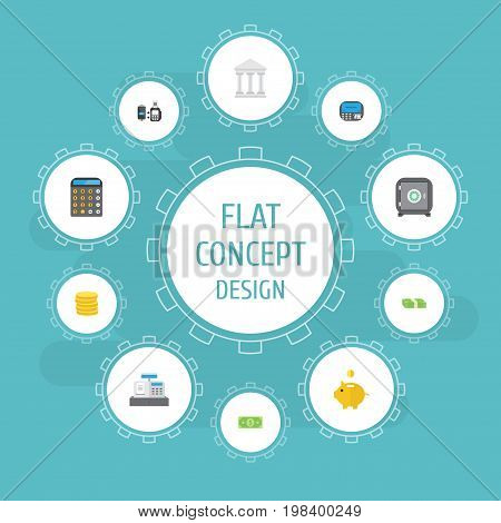 Flat Icons Cash Stack, Money Box, Bank And Other Vector Elements