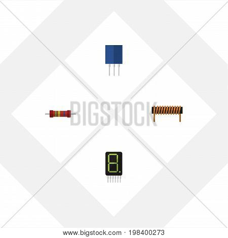 Flat Icon Appliance Set Of Bobbin, Display, Resistance And Other Vector Objects