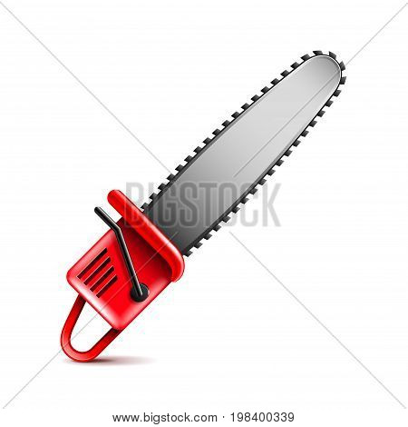 Chainsaw isolated on white photo-realistic vector illustration