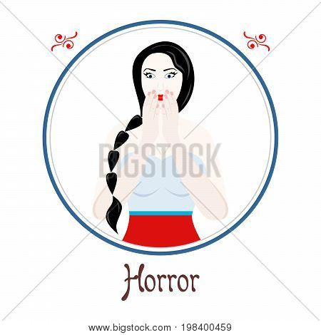 Illustration with a woman on the theme of horror.