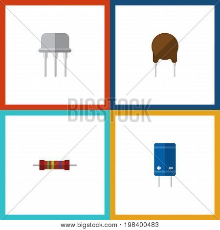 Flat Icon Electronics Set Of Resistance, Transistor, Triode And Other Vector Objects