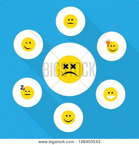 Flat Icon Expression Set Of Cross-Eyed Face, Grin, Displeased And Other Vector Objects