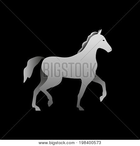 Silhouette of a gray horse standing. Horse side view profile.