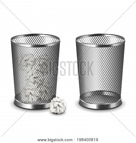 Office bin isolated on white photo-realistic vector illustration