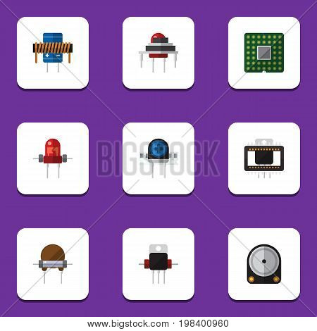 Flat Icon Device Set Of Destination, Resistor, Bobbin And Other Vector Objects